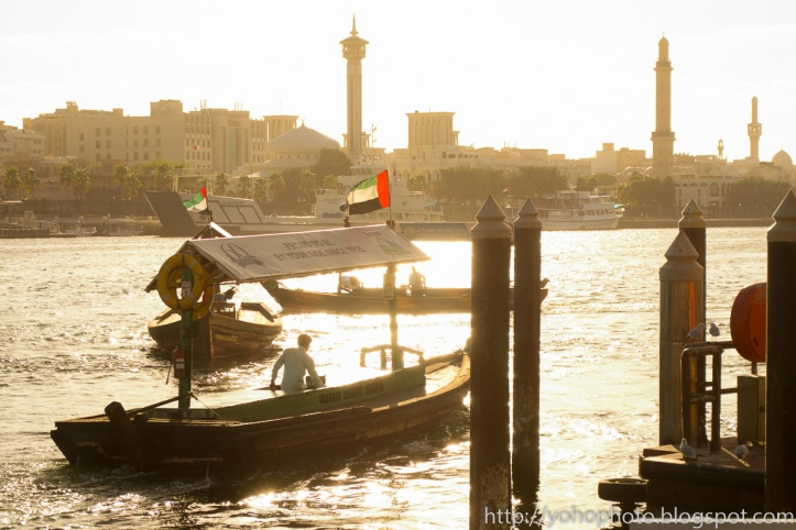 Dubai Abra setting forth in late afternoon sun