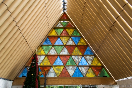 Stained glass window of Cardboard Cathedral